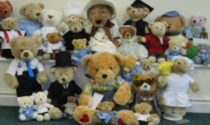 photo of several teddies dress in costume
